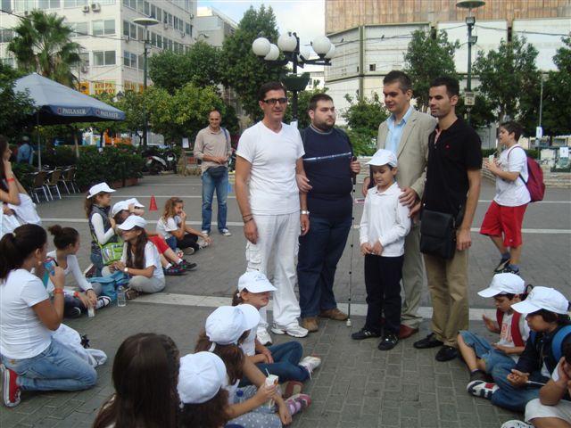 Ο Βαγγέλης Αυγουλάς με τους Π. Μαρκοστάμο. Α. Γκλίνο και Γιάννη Πολονύφη