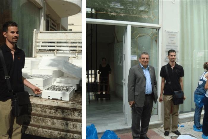 Δύο Φωτογραφίες: ο Βαγγέλης Αυγουλάς με ψάρια και ο Βαγγέλης Αυγουλάς με τον Δήμαρχο Νίκο Ζενέτο