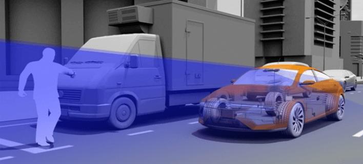 Προσομοίωση πως η κάμερα αυτοκινήτου θα εντοπίζει τον πεζό
