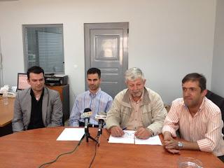 Ο Βαγγέλης Αυγουλάς, ο Δημήτρης Παυλής, ο Παναγιώτης Παπαχρόνης και ο Σωτήρης Παπαδημητρίου στη συνέντευξη τύπου
