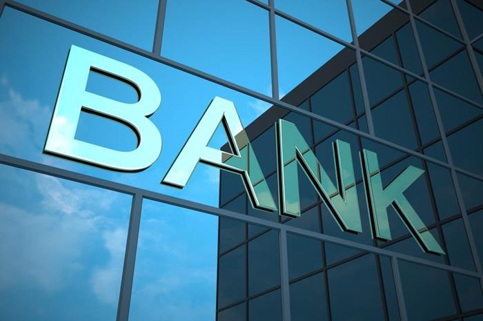 κτήριο τράπεζας και λέξη bank