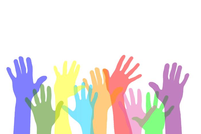 χρωματιστά ΄χέρια ψηλά που υποδηλώνουν εθελοντισμό