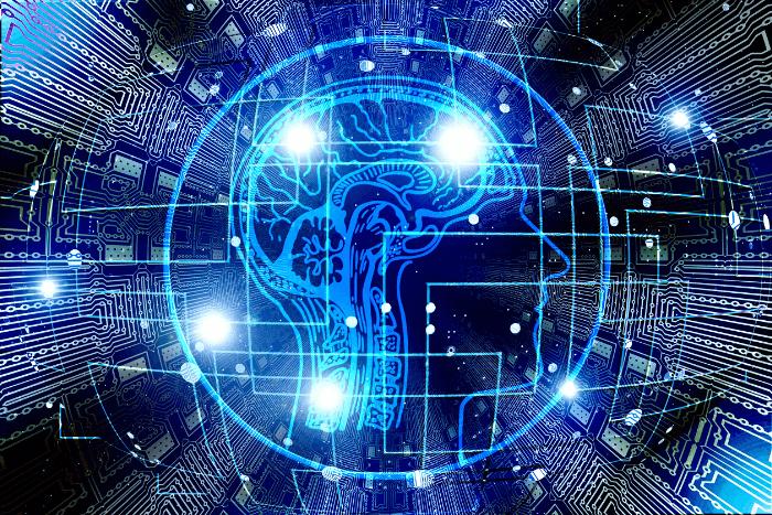 εγκέφαλος ανθρώπου μέσα από ηλεκτρονικό υπολογιστή