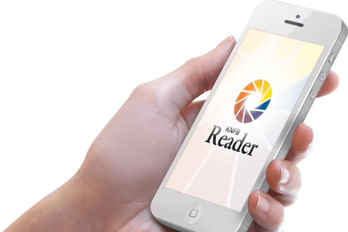 κινητό που δείχνει την εφαρμογή KNFB reader