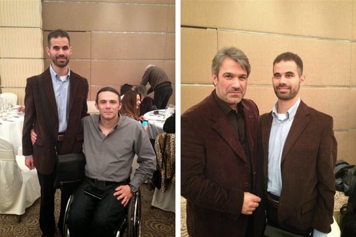 Ο Βαγγέλης Αυγουλάς με τους Κώστα Γενικό Γραμματέα της ΕΑΟΜ-ΑμεΑ και Σπύρο Χαριτάτο Δημοσιογράφο