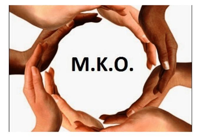 Χέρια που σχηματίζουν κύκλο και μέσα είναι τα αρχικά ΜΚΟ