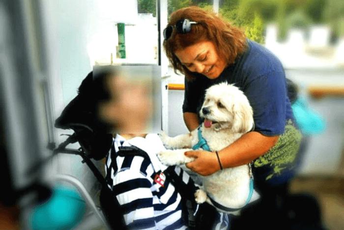 σκύλος που χαϊδεύει κορίτσι σε αναπηρικό αμαξίδιο