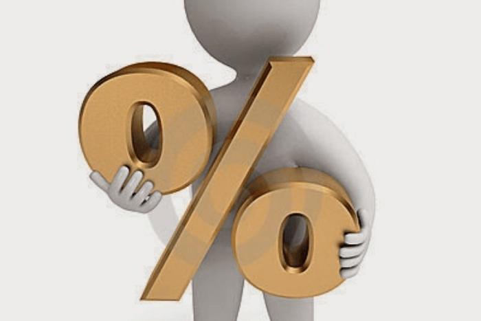 ανθρωπάκι που κρατάει σήμα επί τις εκατό %