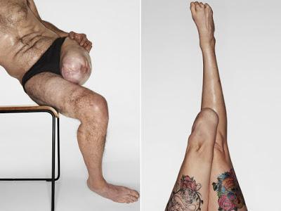 Μοντέλα με ένα πόδι άντρας και γυναίκα