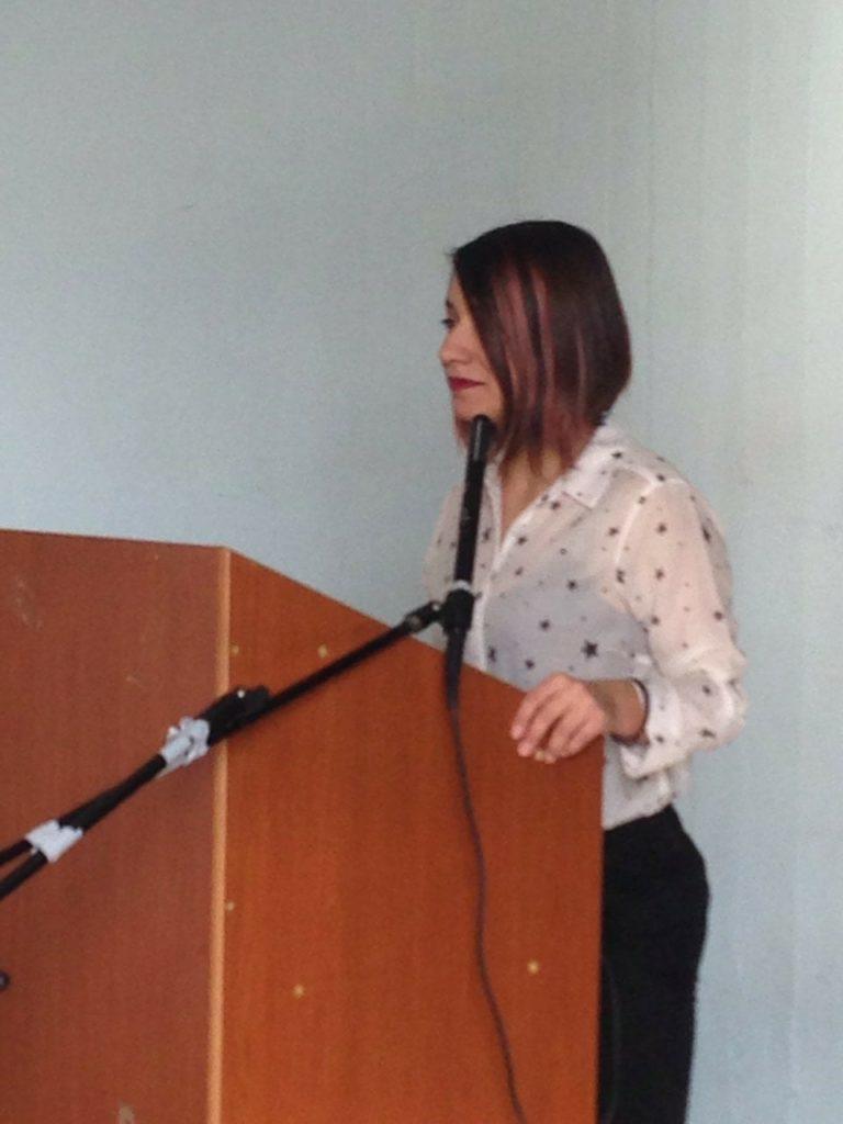 Η Μαρία Ορτουλίδου στην ομιλία της