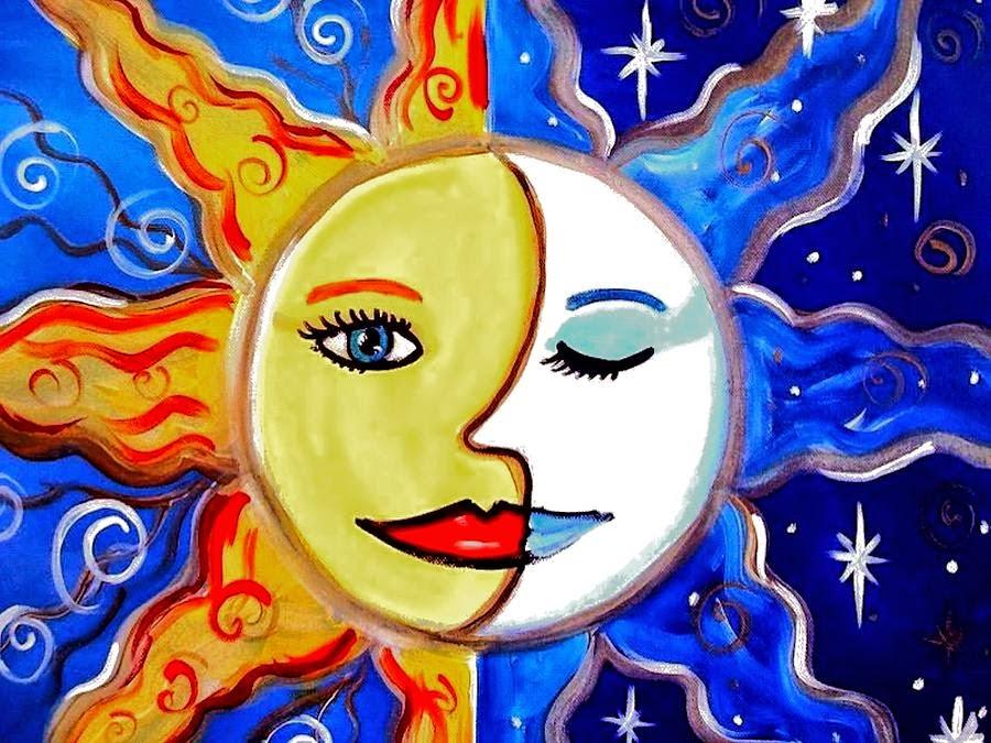 ένα πρόσωπο που το μισό είναι ήλιος και το άλλο μισό είναι φεγγάρι