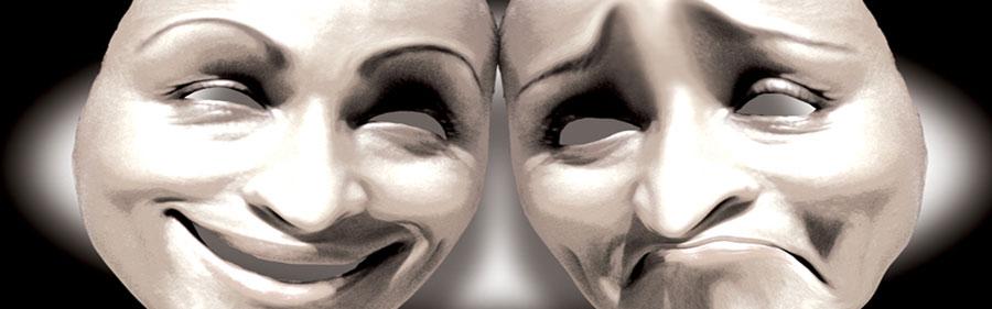 Δύο μάσκες η μια χαμογελάει και η άλλη είναι λυπημένη