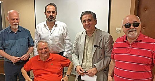 Ο Υπουργός Ευκλείδης Τσακαλώτος με τους Ηλία Μαργιόλα, Ιωάννη Βαρδακαστάνη. Θωμά Κλεισιώτη και Γιάννη Λυμβαίο