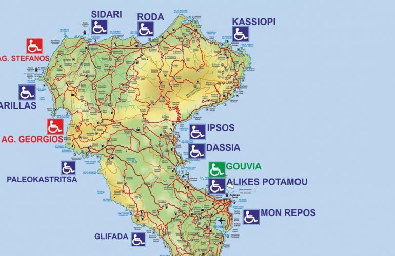 Χάρτης παραλιών Κέρκυρας με προσβάσιμες παραλίες