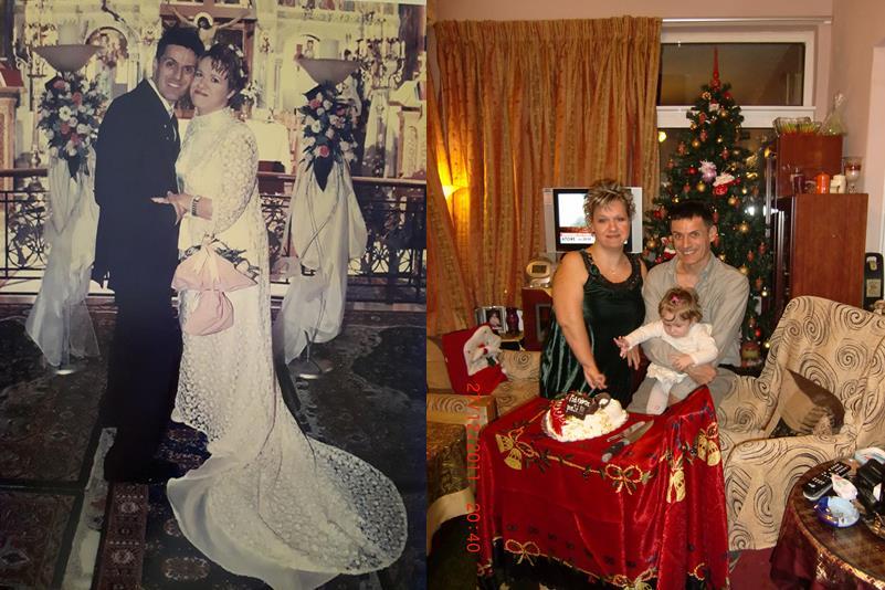 φωτογραφία από το γάμο του Χρήστου και της Ειρήνης από το γάμο τους και φωτογραφία που κόβουν πίτα με την κόρη τους