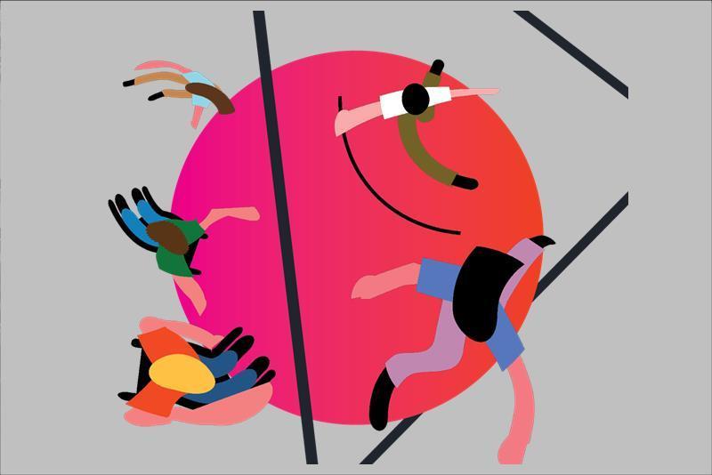 σκίτσο ατόμων που χορεύουν. λογότυπο από το iDance