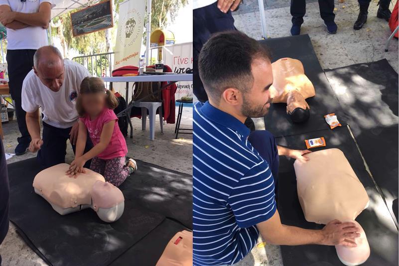Ο Βαγγέλης Αυγουλάς και κοριτσάκι μαθαίνουν πρώτες βοήθειες