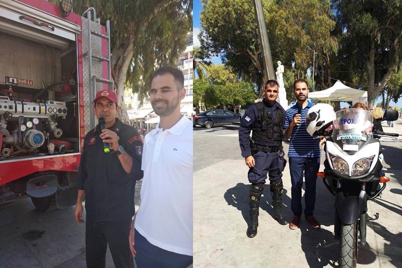 Ο Βαγγέλης Αυγουλάς με εκπρόσωπο από το σώμα της Αστυνομίας και της Πυροσβεστικής