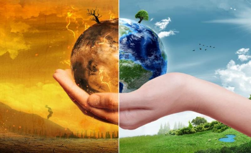 ένα χέρι που κρατάει τον πλανήτη γη και ο μισός βρίσκεται σε υπερθέρμανση