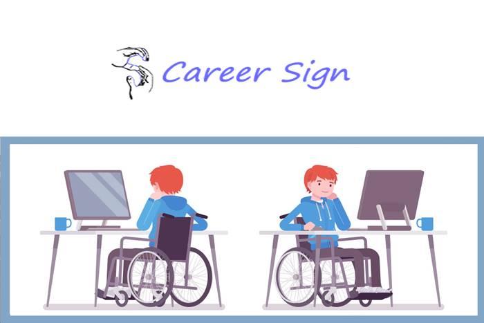 άνθρωπος σε αμαξίδιο μπροστά σε ηλεκτρονικό υπολογιστή και λογότυπο της career sign