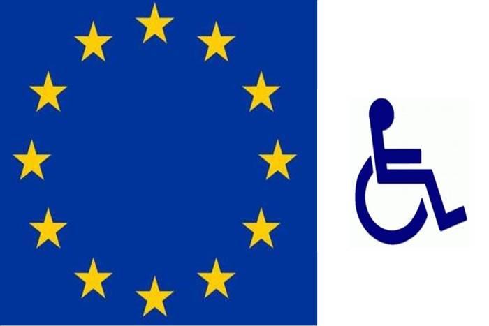 σημαία Ευρωπαϊκής ένωσης και σήμα ΑμεΑ