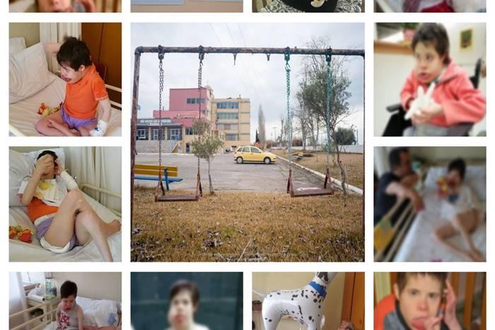 κολάζ φωτογραφιών κοπέλα με σύνδρομο down από το Ίδρυμα
