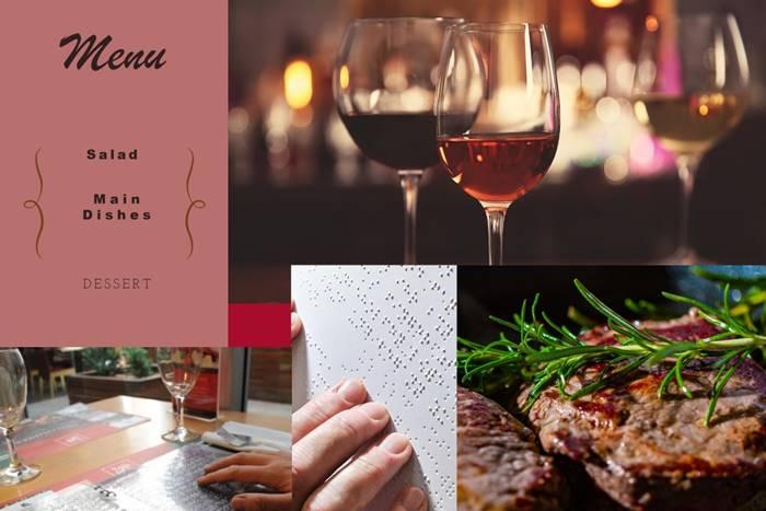 Κολάζ με φωτογραφίες μενού, Κρασιών, Φαγητών και σελίδα braille