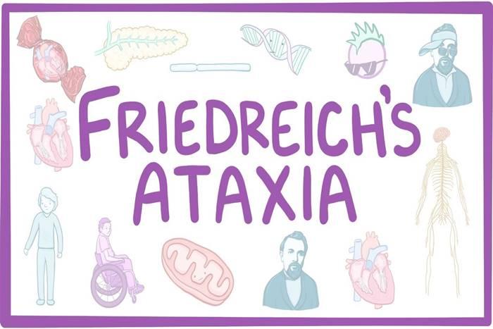 """εικόνα με τη φράση: """"Friedreich's Ataxia"""" και εικονίδια ανθρώπων και φαγητών"""