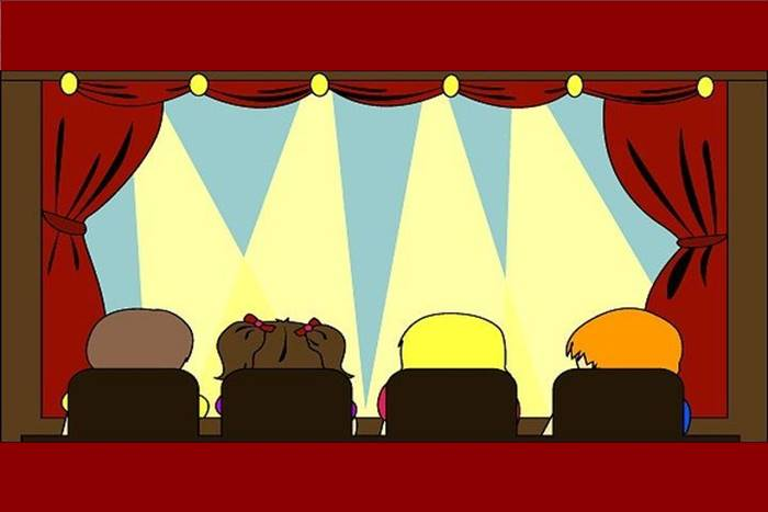 σκίτσο παιδιών που παρακολουθούνε παράσταση