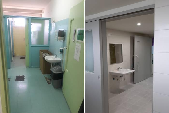Είσοδος μπάνιου νιπτήρας πριν και μετά