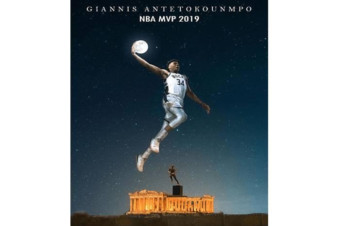 Ο Γιάννης Αντετοκούνμπο σε φωτογραφία του Νίκου Σταμάτη κρατάει το φεγγάρι και υψώνεται πάνω από τον παρθενώνα