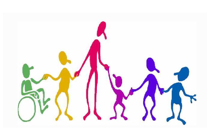 Σκίτσο παιδιών με αναπηρία και χωρίς αναπηρία κρατιούνται από το χέρι