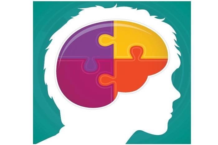 χρωματιστό παζλ σχηματισμένο μέσα σε εγκέφαλο