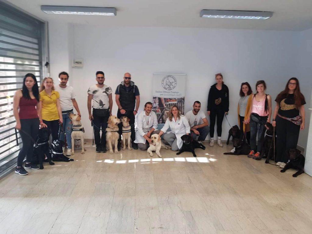 Ομαδική φωτογραφία με σκύλους οδηγούς αναδόχους, εκπαιδευτές