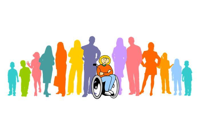 σκίτσο παιδιού σε αναπηρική καρέκλα και πίσω του μαθητές και καθηγητές