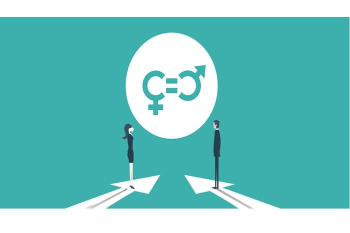 ένας άνδρας και μια γυναίκα απέναντι και τα σήματα του αρσενικού και θηλυκού γένους