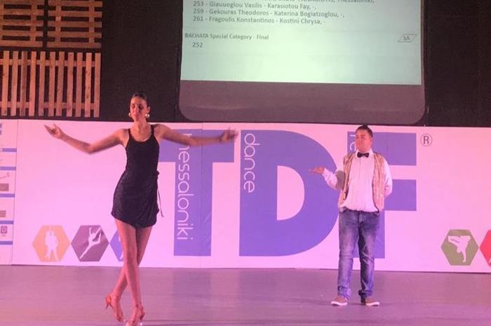 ο Χρήστος Πουρναράς με την παρτενέρ του στο διεθνή διαγωνισμό TDF