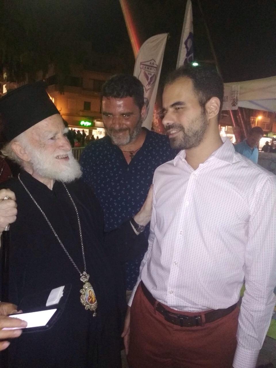 Ο Βαγγέλης με τον Αρχιεπίσκοπο Ειρηναίο