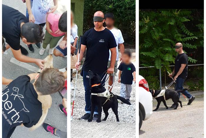Κολάζ φωτογραφιών: 1. Παιδιά με σκύλο οδηγό 2+3.Ο Γιάννης Κονδράρος κάνει βόλτα με σκύλο οδηγό