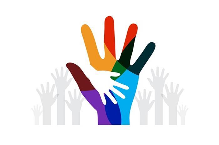 πολλά χέρια μαζί και δύο ενωμένα δηλώνουν εθελοντισμό