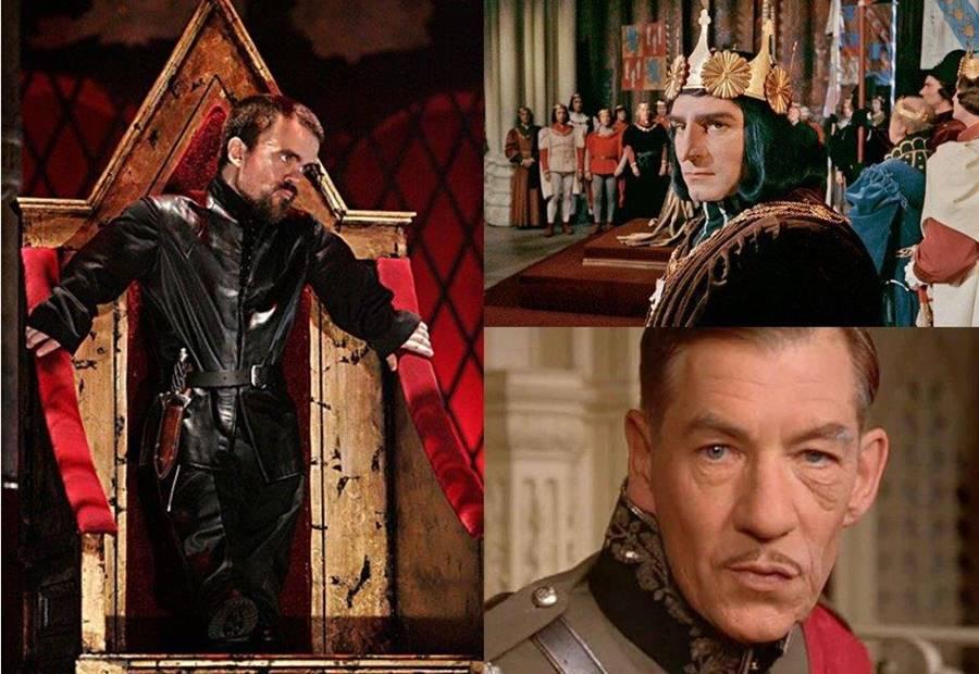 Τρεις μεγάλοι ηθοποιοί ως Ριχάρδος Γ΄: αριστερά ο Πήτερ Ντίνκλεϊτζ και δεξιά ο Λώρενς Ολίβιε (πάνω) και ο Ίαν ΜακΚέλεν.