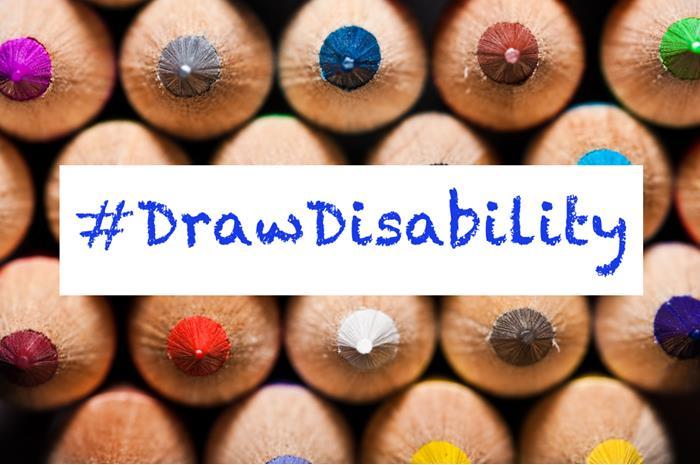 """ξυλομπογιές και η φράση """"Draw Disability"""""""