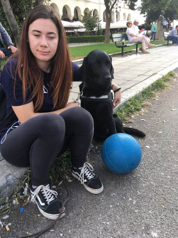 Η Βασιλική με τον Rox Σκύλο Οδηγό