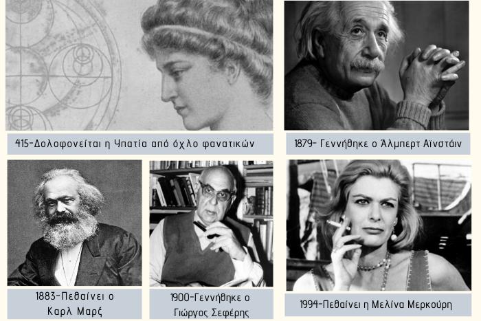 Κολαζ φωτογραφιών με τους Υπατία, Άλμπερτ Αϊνστάιν, Κάρλ Μάρξ, Γιώργο Σεφέρη, Μελίνα Μερκούρη