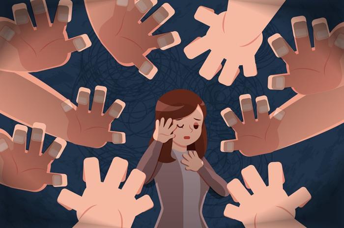 σκίτσο με παιδί στη μέση που το κυκλώνουν χέρια