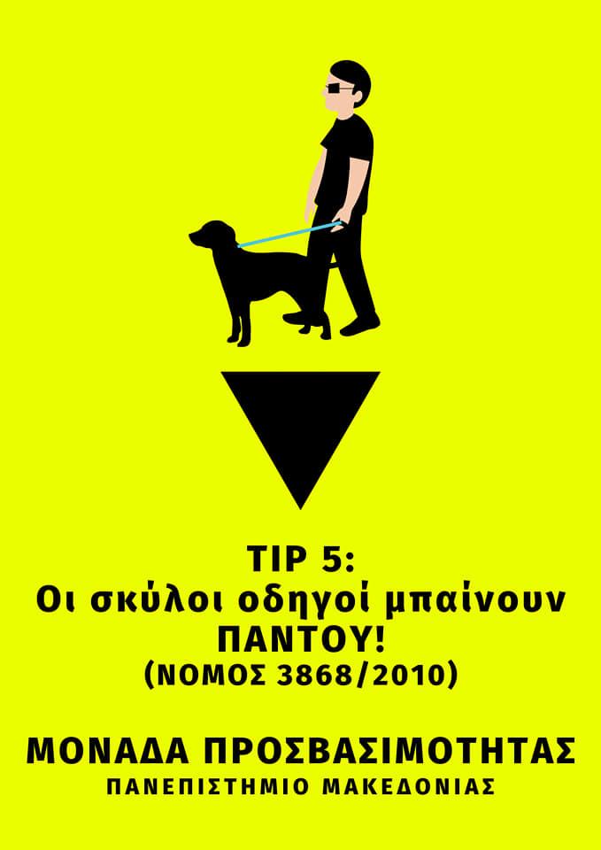 Άνδρας με σκύλο οδηγό. Tip5: Οι σκύλοι οδηγοί μπαίνουν παντού! (Νόμος 3868/2010)