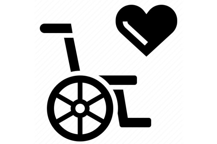 αναπηρικό αμαξίδιο και μια καρδούλα