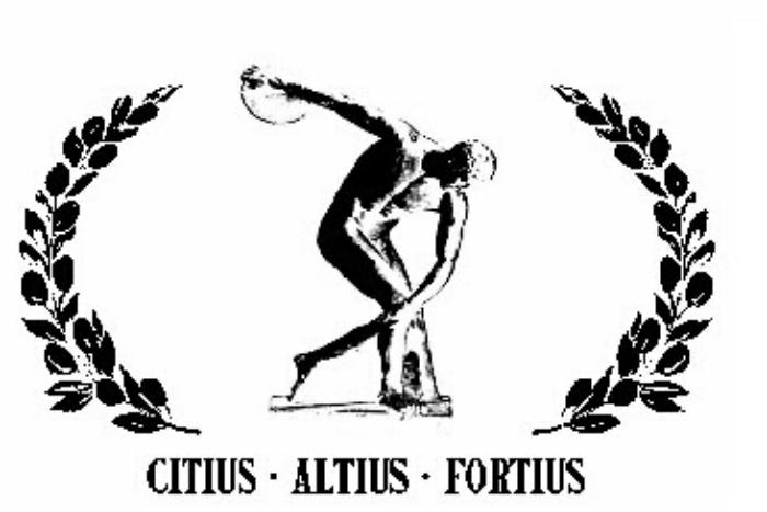 Σκίτσο Αθλητή ανάμεσα σε δάφνες και οι λέξεις Citius- Altius- Fortius