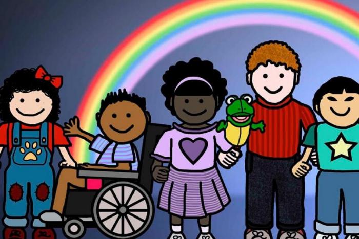 σκίτσο με παιδιά με και χωρίς αναπηρία και διαφόρων εθνικοτήτων