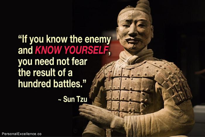 """Ο Σουν Τζούν με το απόφθεγμα"""" if you know the enemy and know yourself, you need not fear the result of a hundred battles"""""""